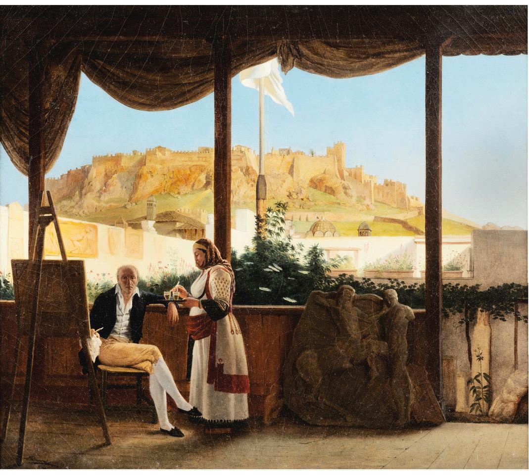 Fauvel dans sa maison athénienne en 1819, tableau à l'huile par Louis Dupré, collection privée. Photo A. Zambon