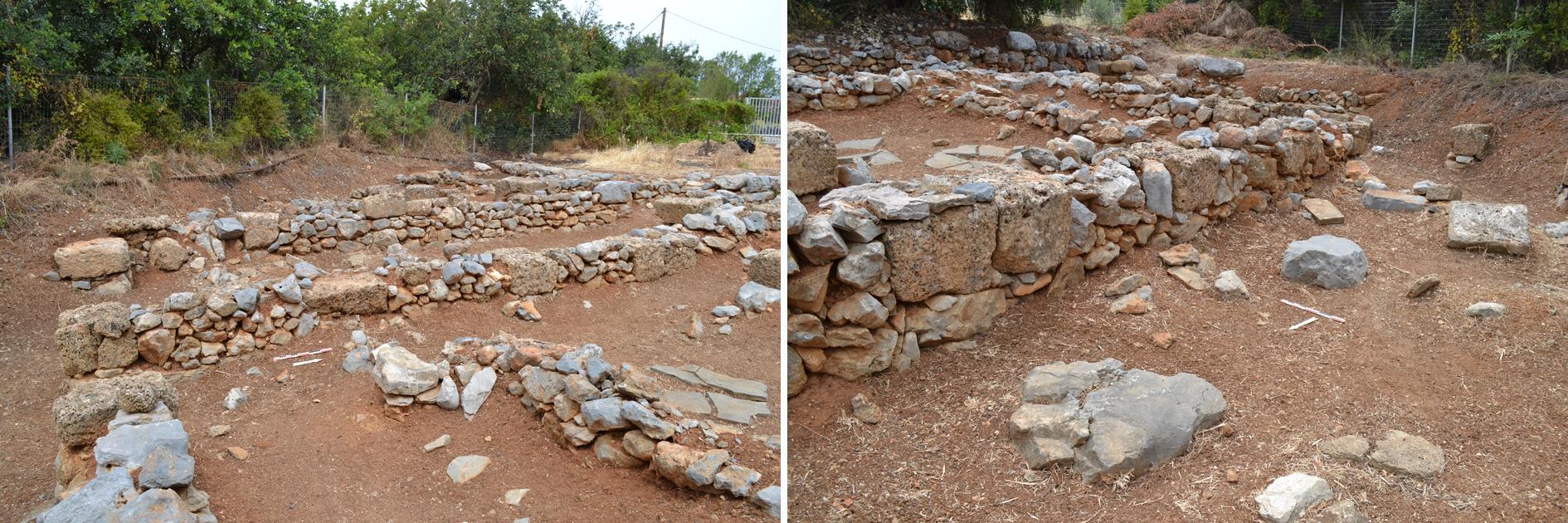 Figure 3. Murs alternant blocs de grès taillés et moellons bruts de calcaire local dans la partie centrale du Bâtiment Dessenne. Noter que certains des blocs de grès taillés insérés dans les murs font face à des bases de colonnes (à droite). Clichés M. Devolder ©EFA