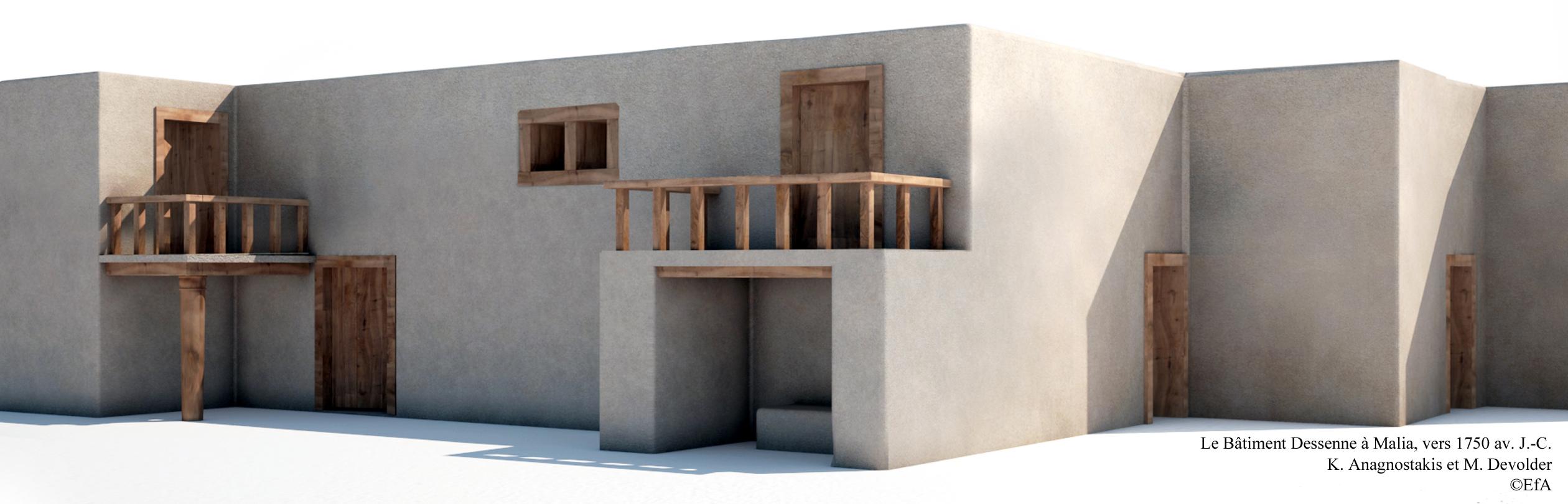 Figure 4. Proposition de reconstitution de la façade Ouest du premier état du Bâtiment Dessenne. K. Anagnostakis et M. Devolder ©EFA