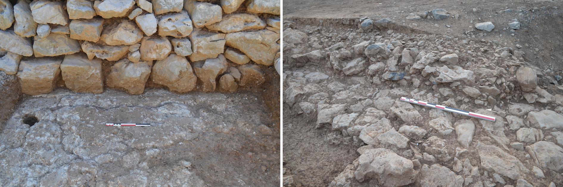 Figure 6. Le mur Ouest de la pièce 2 du Bâtiment Dessenne érigé sur un niveau de sol en plâtre prépalatial (gauche), et le pavement de la rue prépalatiale recouverte d'un remblai à l'Est du Bâtiment Dessenne (droite). Clichés M. Devolder ©EFA