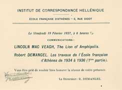 EFA 7 ADM n.c. : Carton d'invitation à la conférence donnée par L. MacVeagh à l'Institut de correspondance hellénique, 19 février 1937.