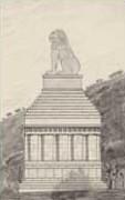 EFA plan n° 650 : Élévation Ouest, essai de restitution du monument en mausolée à six colonnes, par H. Ducoux [c. 1936].