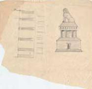 EFA plan n° 4869-1 : Croquis de l'élévation Ouest, essai de restitution du monument en mausolée à quatre colonnes et chambre funéraire, par H. Ducoux [c. 1936].