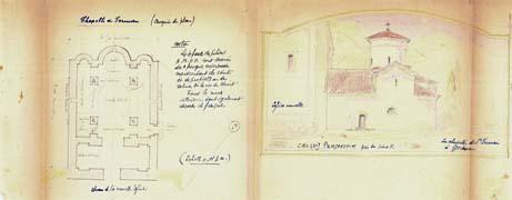 EFA FCP 32, dos. 8 : Croquis du plan du chœur de la nouvelle église d'Agios Germanos, et perspective de l'ancienne chapelle, transmis par le poste de Zélova, mai 1918.