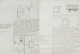 EFA MEM 3 : Extrait du chapitre III du mémoire d'E. Pottier et de M. Beaudouin, avec trois plans généraux du temple de Kouklia (p. 23) et deux plans et un détail d'un hypogée de même structure que celui de Palaeo-Kastro, juillet 1879.