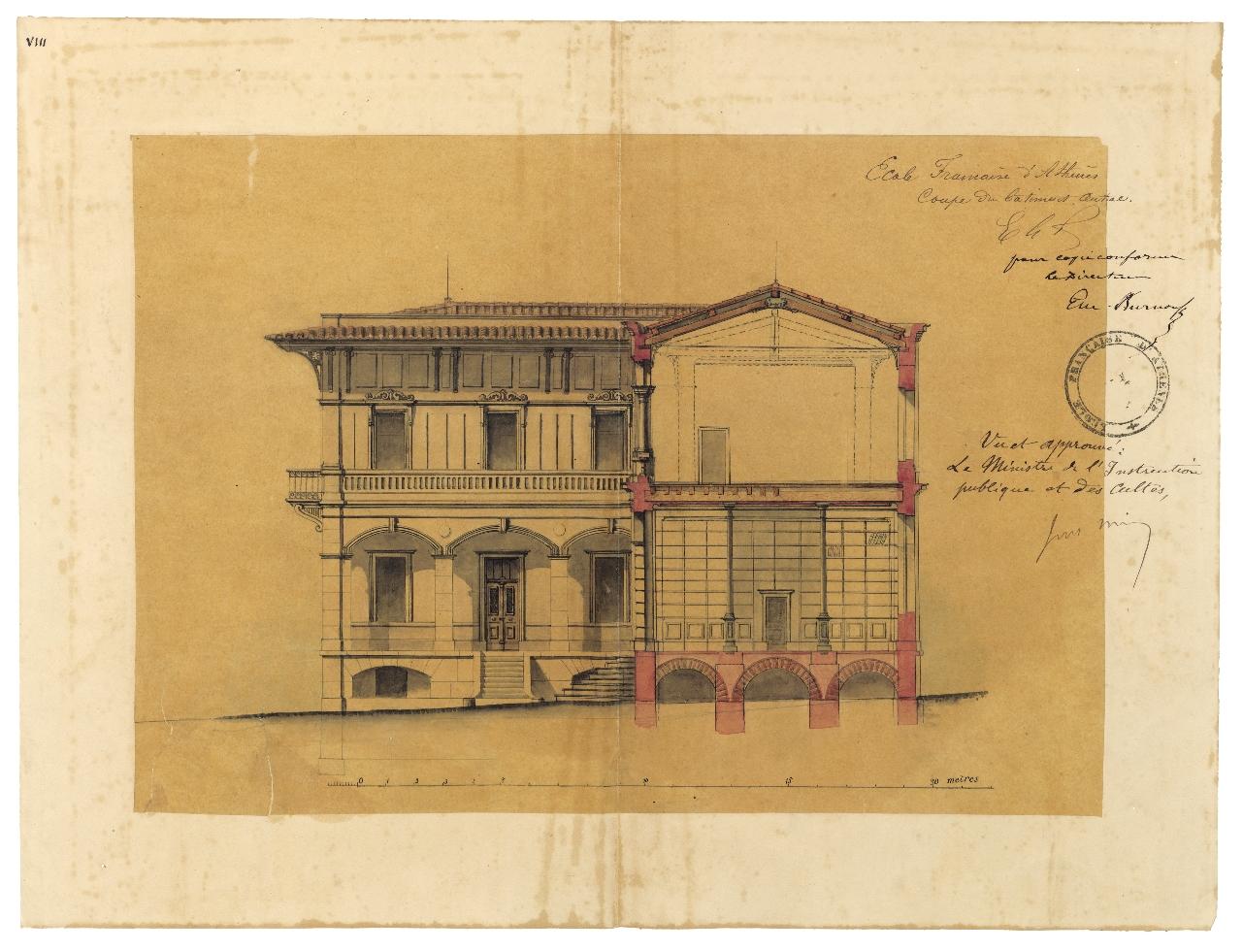 Élévation et coupe du bâtiment principal de l'École française d'Athènes, ca. 1872. Université de Lorraine, fonds Burnouf 41-2, 7