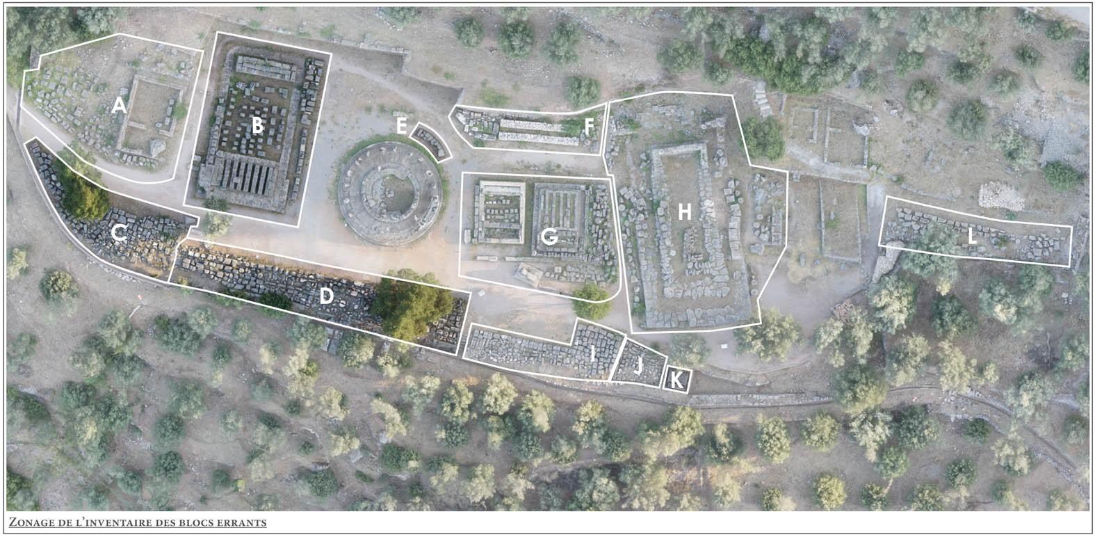 Localisation des secteurs de l'inventaire des blocs © EFA, Mission Delphes-Marmaria