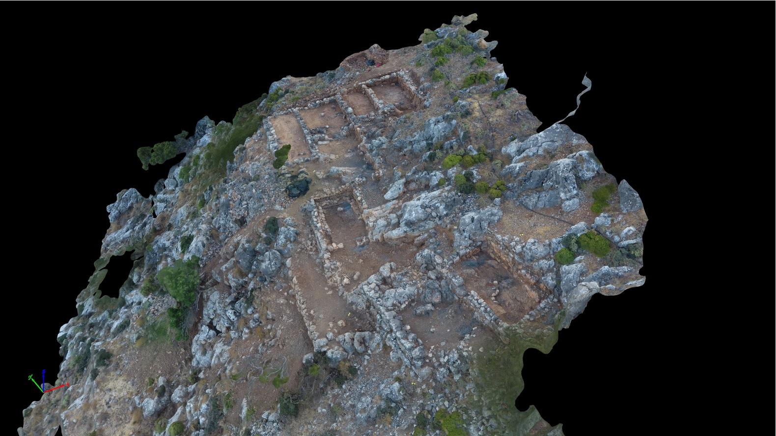 Vue du Quartier de la Forge (© EFA/Mission Anavlochos, modélisation 3D : B. Guillaume)