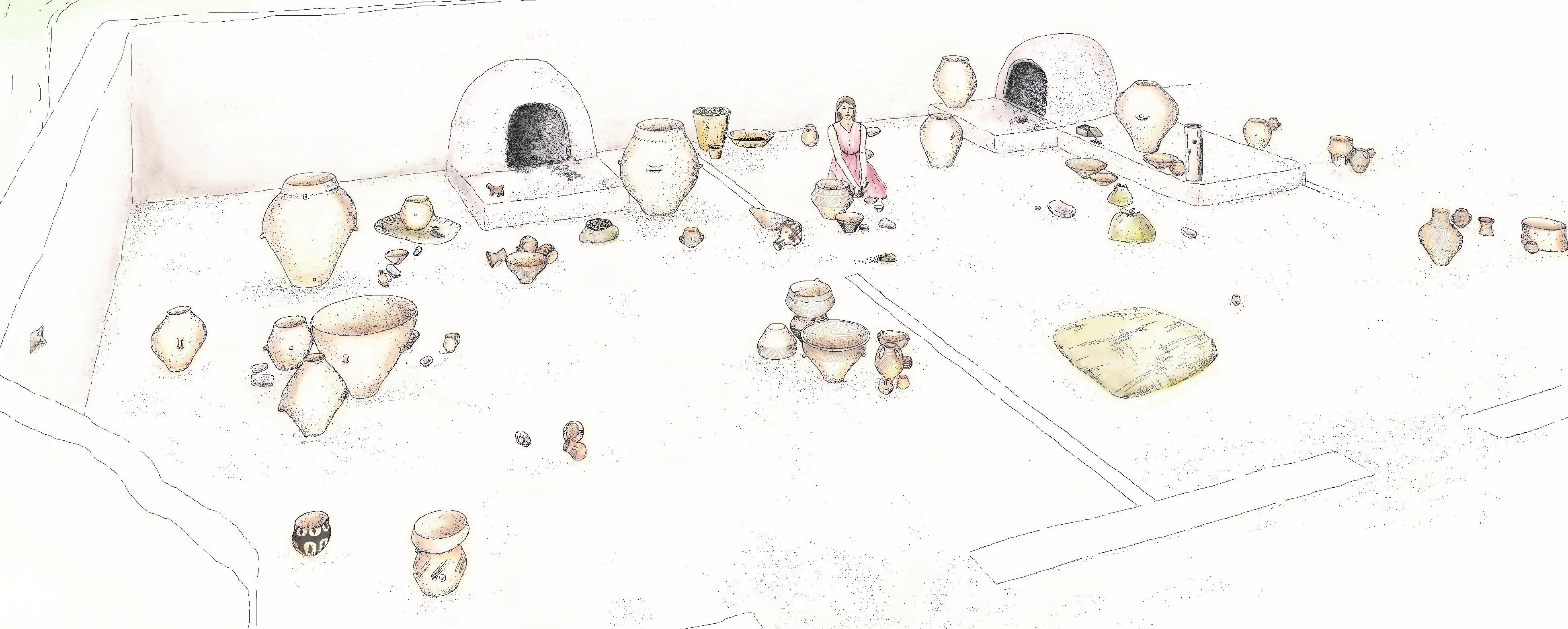 L'intérieur reconstitué d'une maison néolithique, vers 4300 av. J.-C. (R. Douaud)