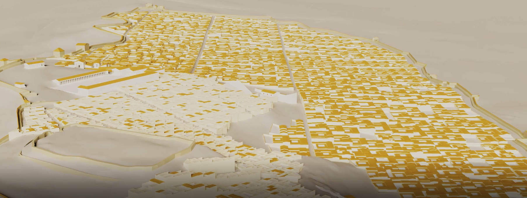 Capture du modèle 3D général de la ville d'Apollonia à l'époque impériale, réalisé par des étudiants de CY Cergy Paris Université.
