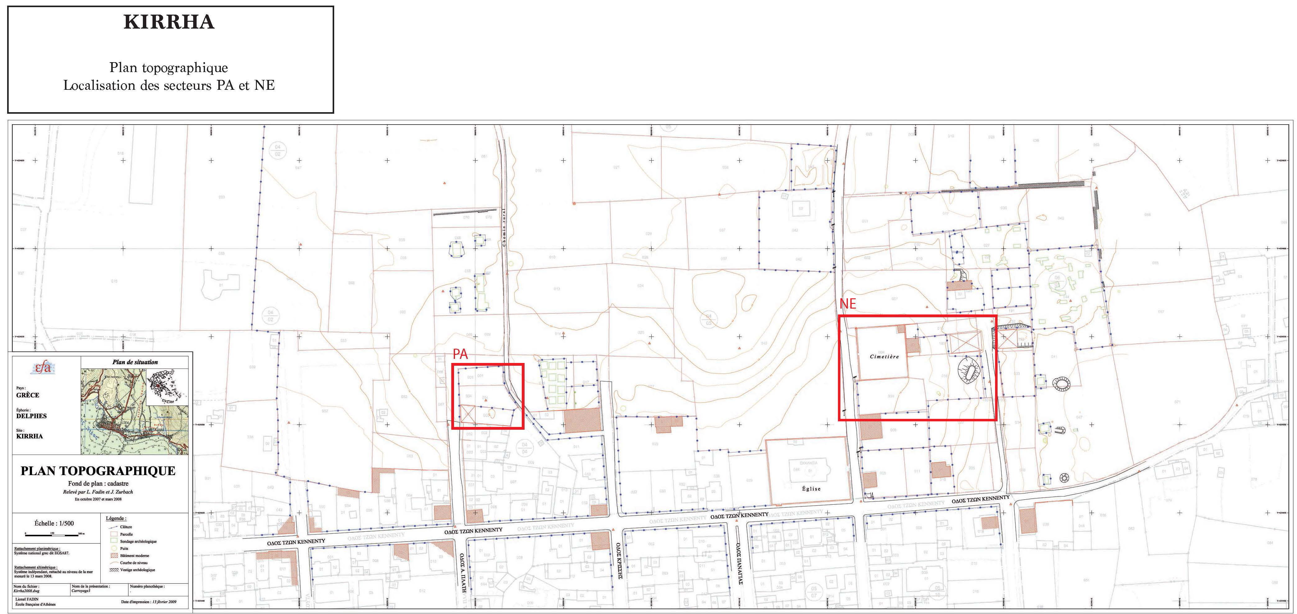 Plan topographique des secteurs PA et NE
