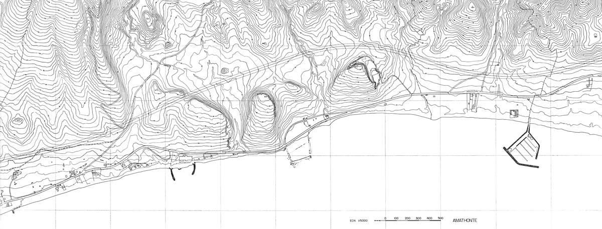 Plan topographique de la région d'Amathonte (H. Michailidou, B. Mouannes / Archives EFA, 12984)