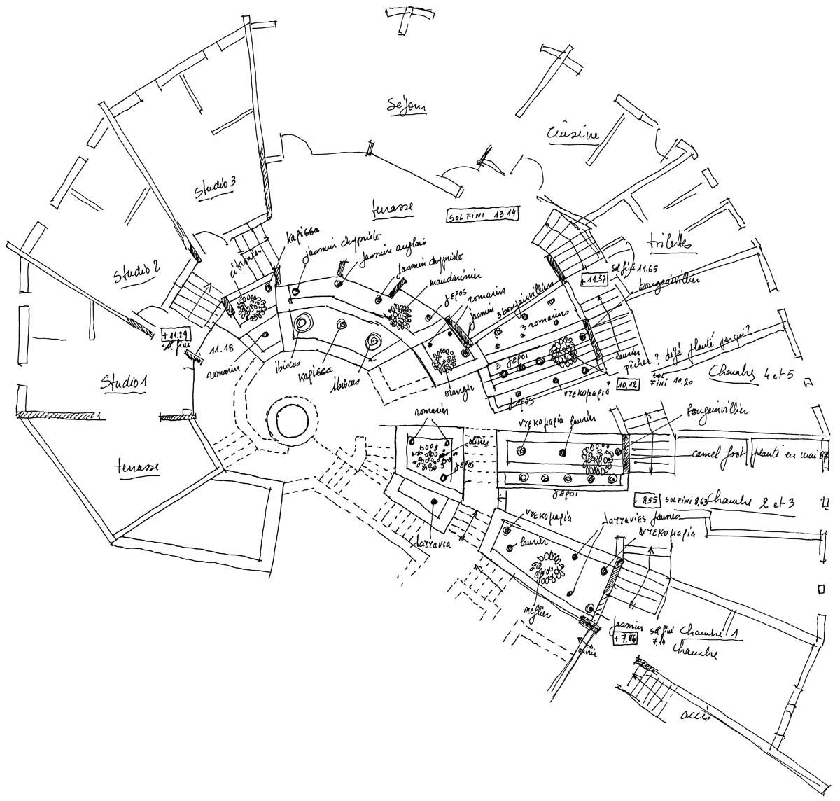 La maison de fouille, croquis (M. Schmid / Archives EFA, 16893)