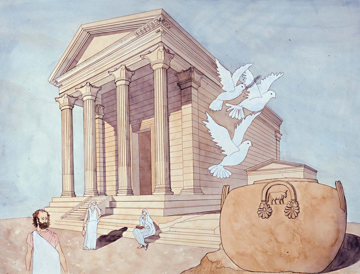 Reconstruction of the temple, watercolour (Fl. Babled, M. Schmid / Archives EFA, 23521)