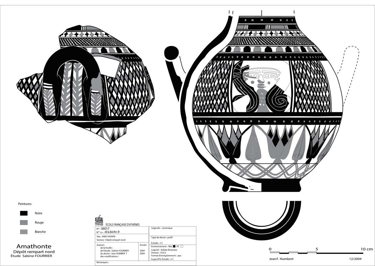 Rempart Nord, amphorisque du « style d'Amathonte » (J. Humbert / Archives EFA, 36017)