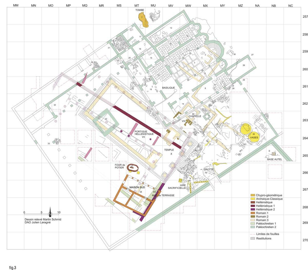 Plan du sanctuaire (M. Schmid, J. Laragné / Archives EFA, 42009)