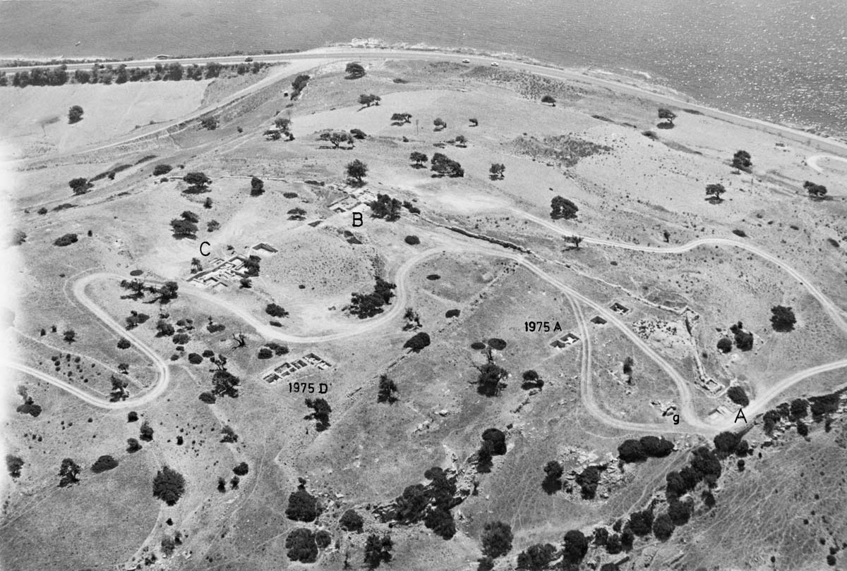 Aerial view of the exploratory trenches, 1975: A-B, middle fortification wall; C, palace (Archives EFA, AMATH 3-1 [1])