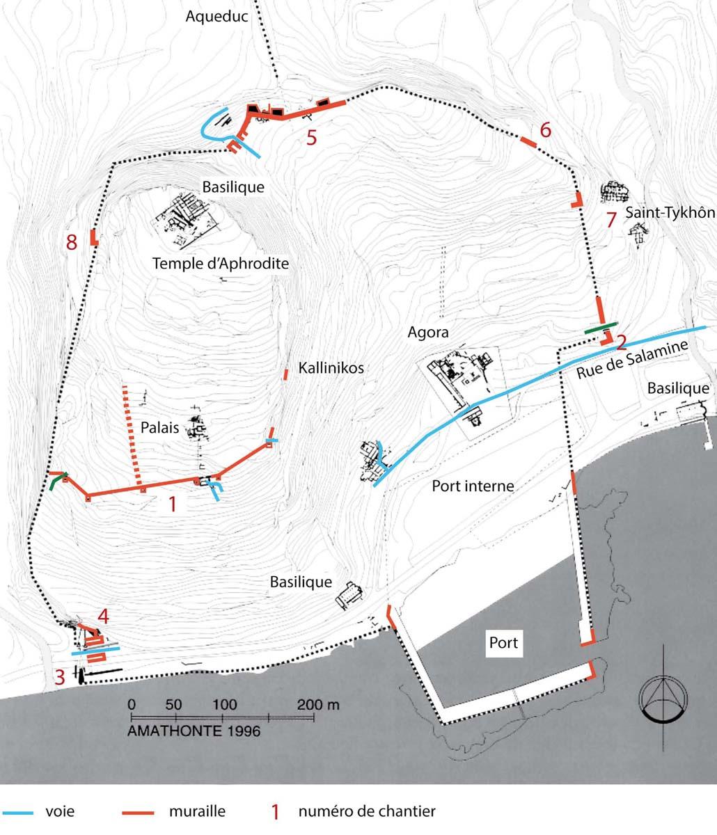 Plan des fortifications avec les secteurs étudiés (P. Aupert, T. Koželj, M. Wurch-Koželj, J. Durin)