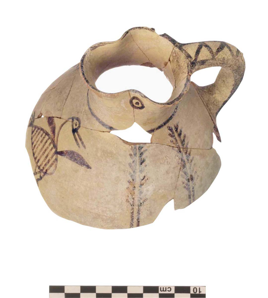 Bothros, Bichrome jug decorated with a bird (Ph. Collet / Archives EFA, N032-067)