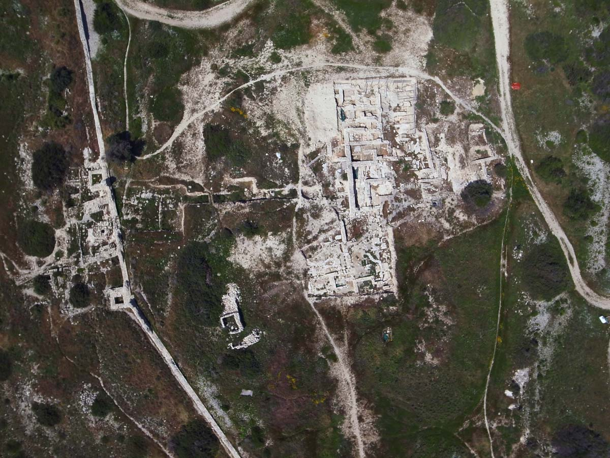 Vue aérienne du palais avec la muraille médiane au sud, 2011 (Chr. Gaston / Archives EFA, N486-002)