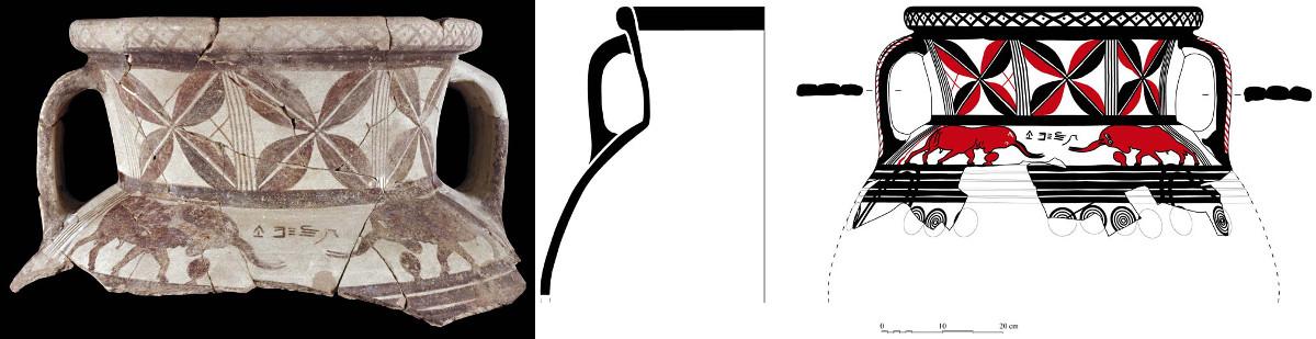 Grotte, amphore archaïque à décor de taureaux et inscription syllabique (Ph. Collet / Archives EFA, Y.1503; J. Humbert / Archives EFA, 28999)