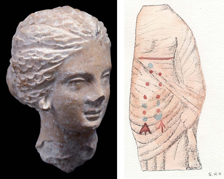 Sanctuaire, tête en « style de Tanagra » (Ph. Collet / Archives EFA, Y.1763) - Fragment de figurine polychrome, aquarelle (S. Hartmann / Archives EFA, 12827 [7])