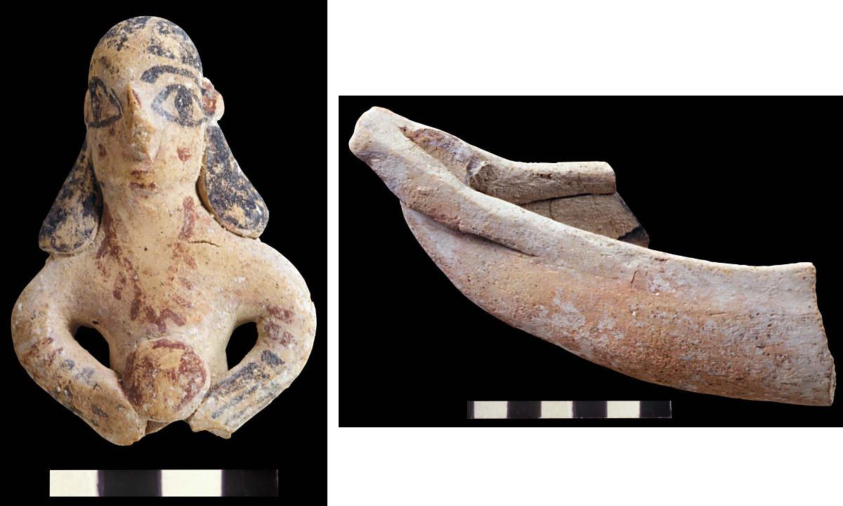 Palais, figurine de femme au disque (Ph. Collet / Archives EFA, Y.2127) - Palais, fragment de barque (Ph. Collet / Archives EFA, Y.2024)
