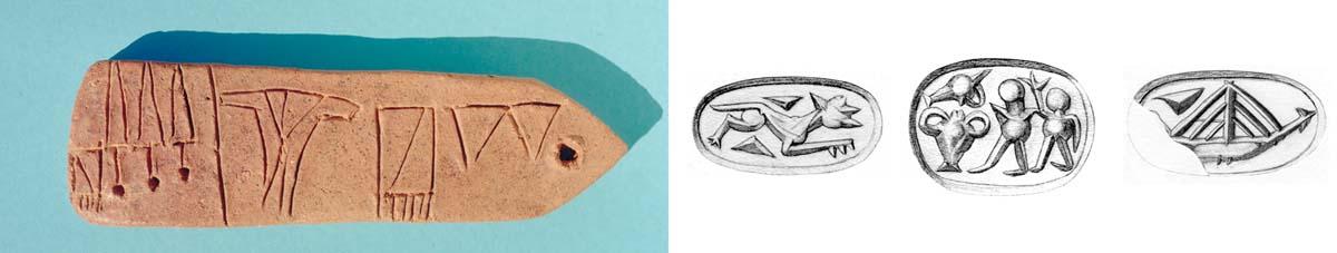 Figure 4. Tablette inscrite du Bâtiment A (cliché J.-Cl. Poursat ©EfA) et sceaux de l'Atelier de sceaux (dessins ©CMS).