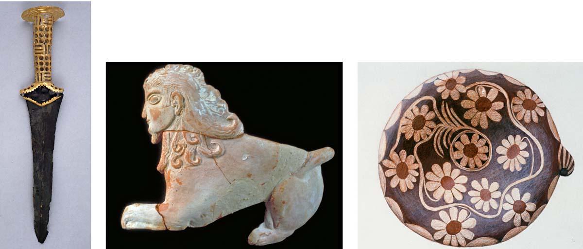 Figure 5. Poignard à manche en or et pièce d'applique en terre cuite en forme de sphinx (clichés Ph. Collet ©EfA). « Lékanè » en terre cuite à décor de marguerites (aquarelle I. Athanasiadi ©EfA).