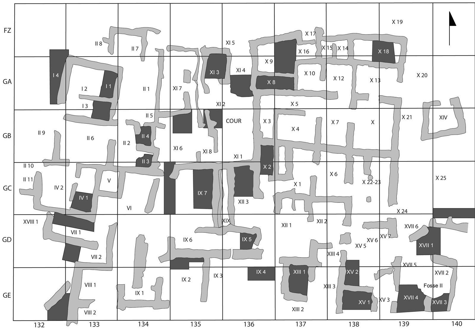 Figure 1. Plan du Quartier Nu, avec en gris foncé les sondages menés sous les niveaux MR IIIA2-B. Relevé J. Driessen ©EfA
