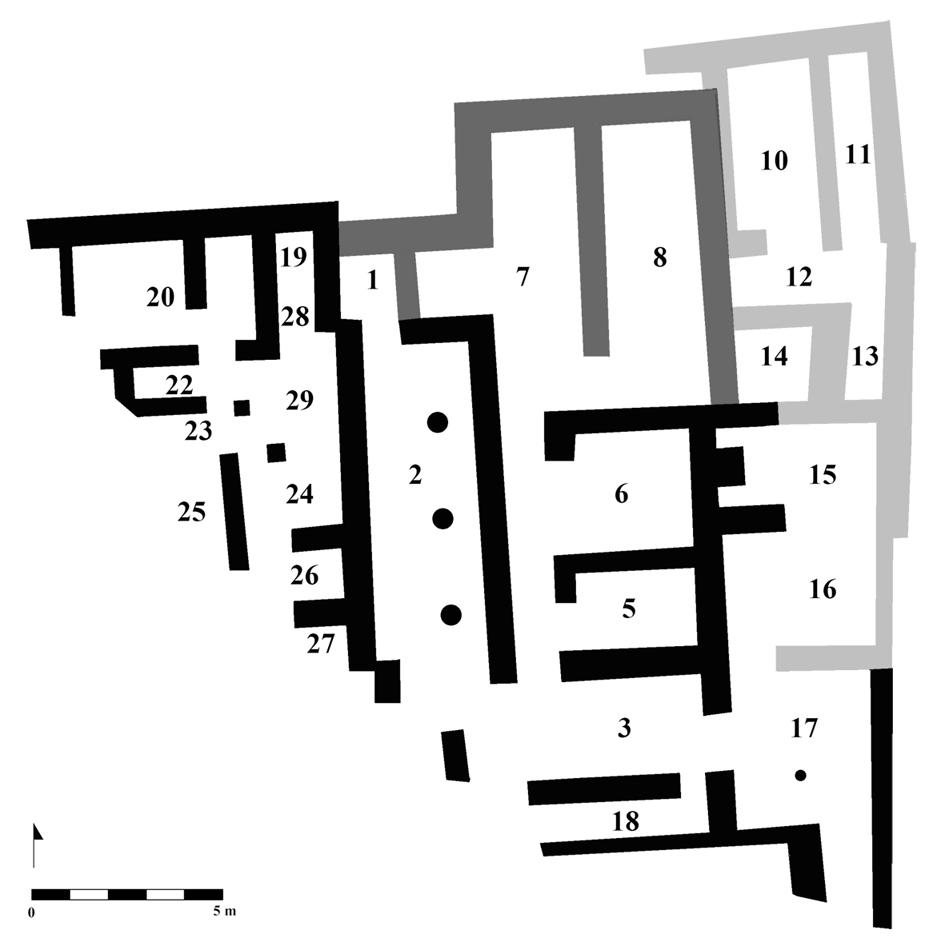 Fig. 2. Plan schématique de la séquence de construction du Bâtiment Dessenne, d'après le plan dressé en 2012 par M. Devolder et L. Fadin ©EFA