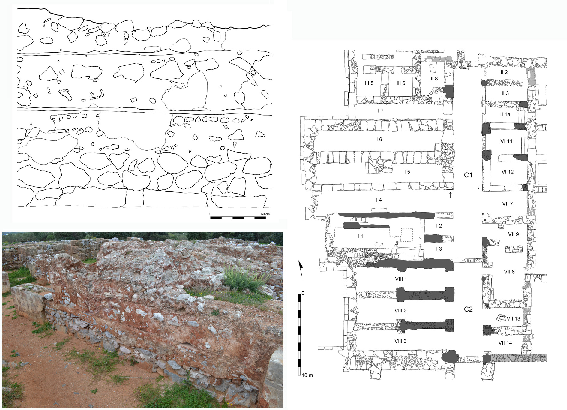 Figure 4. Relevé et vue d'un mur protopalatial en couches superposées de blocage (gauche) et plan des 'Magasins Ouest' du Palais avec la localisation de ces mêmes murs en gris foncé (droite) (M. Devolder et K. Papachrysanthou) ©EFA