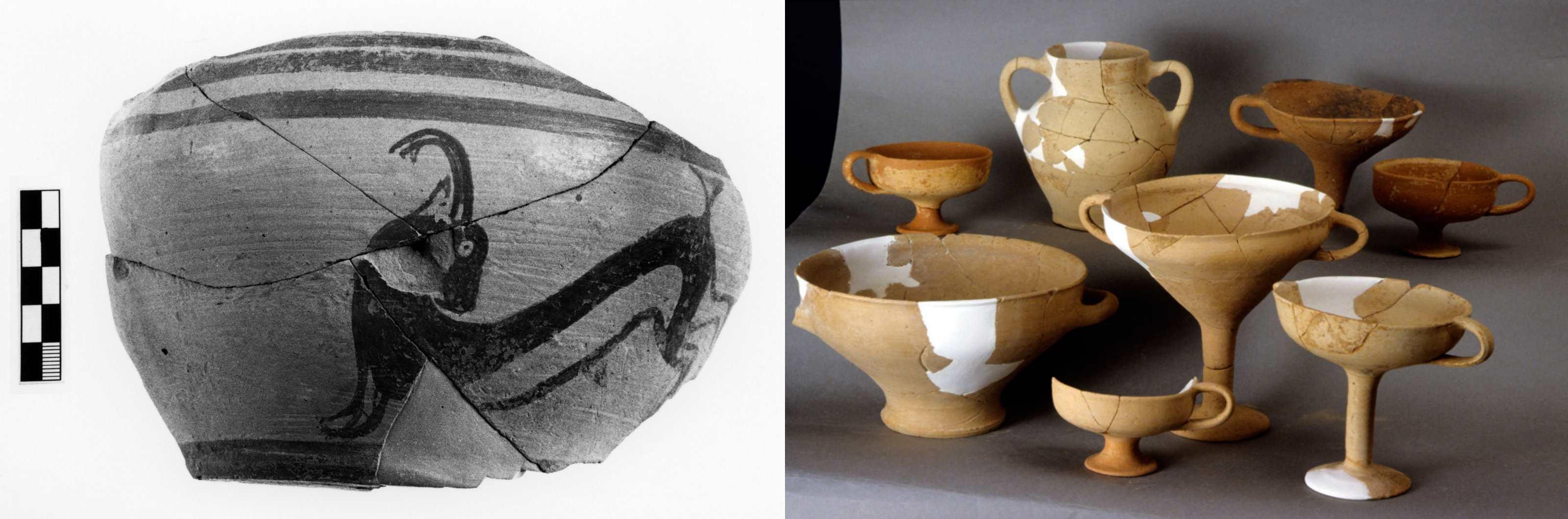 Figure 3. Sélection de matériel céramique issu des niveaux MR IIIA2-B au Quartier Nu. Clichés Al. Farnoux et Chr. Papanikolopoulos ©EfA